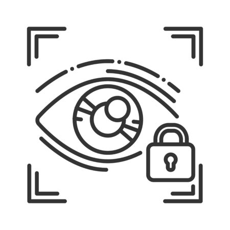 Eye identification private protection or locked black line icon. Blocked user account, private, safe or secure data, access denied. Biometric security element. Sign for web page, mobile app, Stock Illustratie