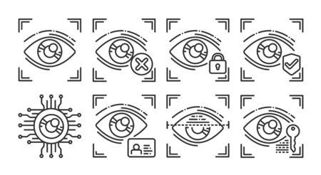 Eye identification black line icons set. Concept of: verifying person, blocked user, security, approved, ai, id, scanning, unlock access. Biometric identification. Signs for web page mobile app