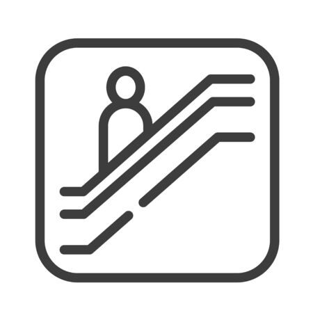 Escalator black line icon. Moving staircase which carries people between floors of a building. Pictogram for web page, mobile app, promo. UI UX GUI design element. Editable stroke