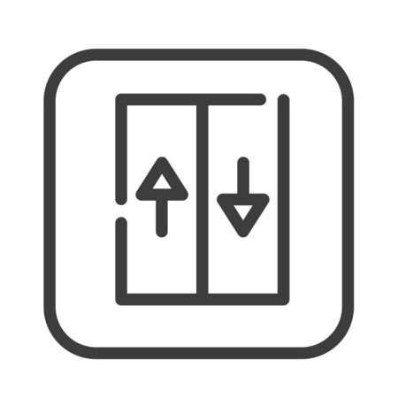 Elevator color line icon. Moving staircase which carries people between floors of a building. Pictogram for web page, mobile app, promo. UI UX GUI design element. Editable stroke