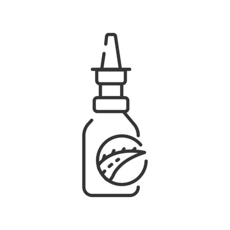 Aloe drops black line icon. Drops for nose with aloe extract. Helps with allergies and illnesses. Pictogram for web page, mobile app, promo. UI UX GUI design element. Editable stroke.