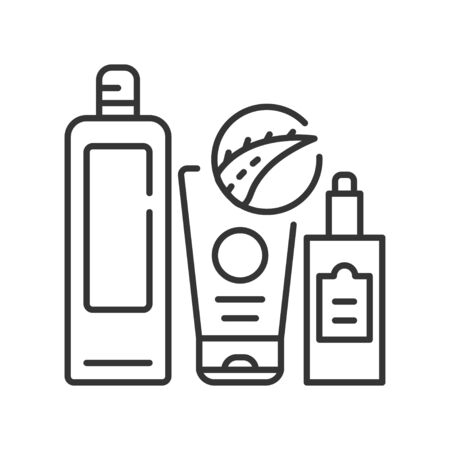 Aloe cosmetics black line icon. Substances or products with aloe. Used to enhance or alter the appearance of the face or body. Pictogram for web page, mobile app, promo. Editable stroke
