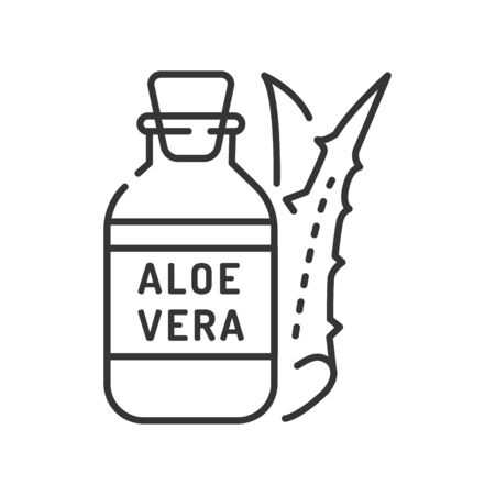 Aloe oil black line icon. Oil made from aloe. Viscous liquid. Moisturizes and nourishes the skin. Skincare. Also used for massage. Editable stroke Ilustracja