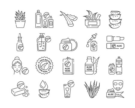 Aloe black line icons set. Care products with aloe extract for face and body. Slincare. Cosmetics. Pictogram for web page, mobile app, promo. UI UX GUI design element. Editable stroke