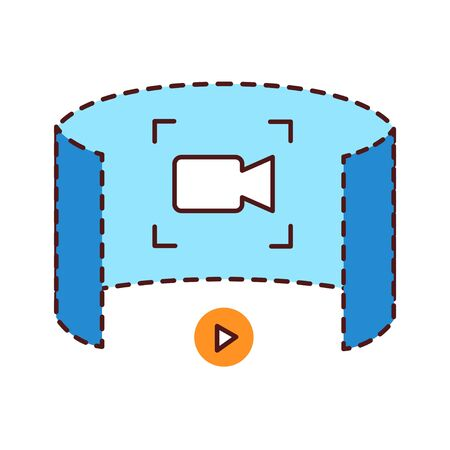 Augmented reality in cinema color line icon. Innovative digital entertainment. Pictogram for web page, mobile app, promo. UI UX GUI design element.