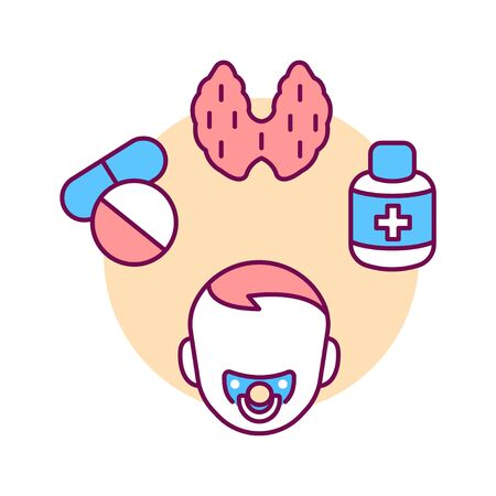Pediatric endocrinology color line icon. Checking children for the normalization of hormones and thyroid glands. Pictogram for web page, mobile app, promo. UI UX GUI design element Ilustrace