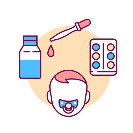 Dosage medicines for children color line icon. Pediatric health care sign. Childcare concept. Pictogram for web page, mobile app, promo. UI UX GUI design element.