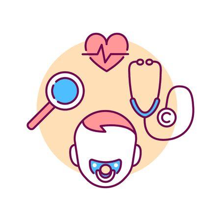 Neopatology color line icon. Pediatric health care sign. Newborn care concept. Pictogram for web page, mobile app, promo. UI UX GUI design element.