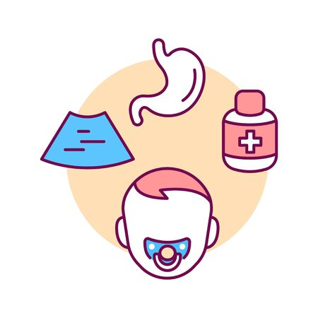 Pediatric gastroenterology color line icon. Check and treatment gastric tract in children. Pictogram for web page, mobile app, promo. UI UX GUI design element