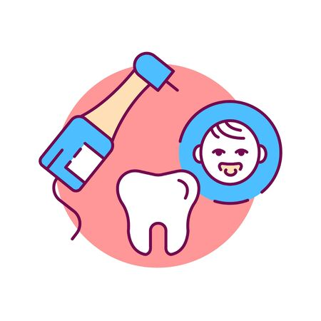 Pediatric dentistry color line icon. Check and treatment teeth in children. Pictogram for web page, mobile app, promo. UI UX GUI design element Ilustrace