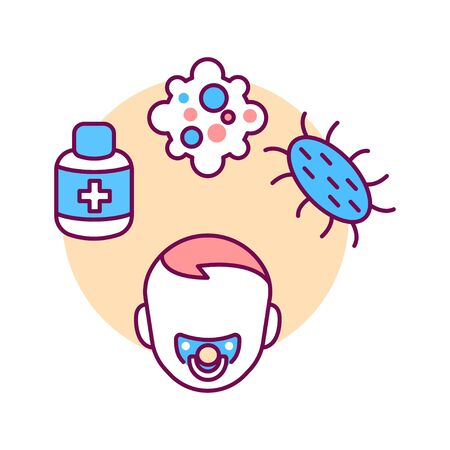 Pediatric immunology color line icon. Check and treatment viral diseases in children. Pictogram for web page, mobile app, promo. UI UX GUI design element