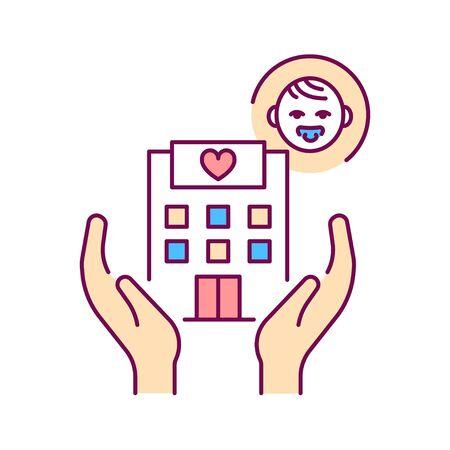 Pediatric hospice color line icon. Palliative help children. Pictogram for web page, mobile app, promo. UI UX GUI design element.