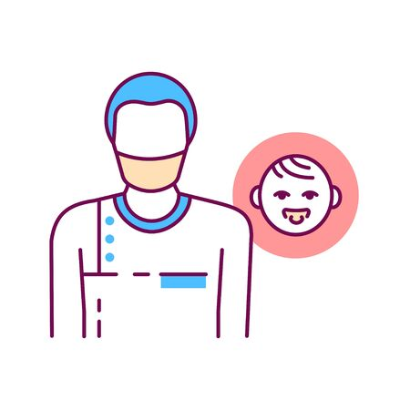 Pediatric surgeon color line icon. Doctor for children. Medical service and treatment children. Pictogram for web page, mobile app, promo. UI UX GUI design element.
