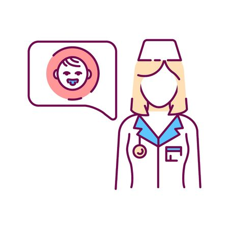 Consultation with doctor color line icon. Communication with the patient about health kid. Pictogram for web page, mobile app, promo. UI UX GUI design element.