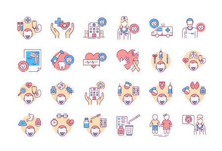 Pediatrics color line icons set. Medical health care sign. Childcare concept. Pictogram for web page, mobile app, promo. UI UX GUI design element. Vetores
