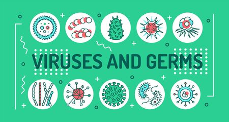 Viruses and germs word lettering typography. Microscopic germ cause diseases. Infographics with linear icons on green background. Creative idea concept Isolated outline color illustration Vectores