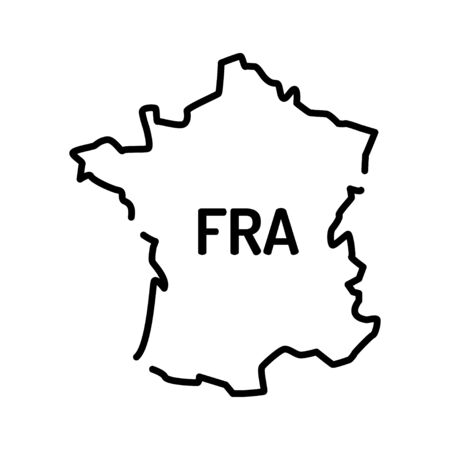 Frankreich Karte schwarze Liniensymbol. Grenze des Landes. Piktogramm für Webseite, mobile App, Promo. UI UX GUI-Designelement. Bearbeitbarer Strich