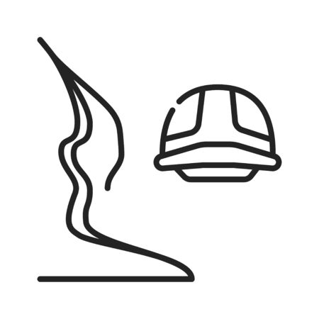 Canyoning black line icon on white background. Extreme. Canyon climbing. Descent into the canyon. Pictogram for web page, mobile app, promo. UI UX GUI design element. Editable stroke
