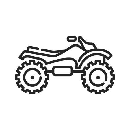 Motocross black line icon on white background. Extreme sport. Motorcycle race on the highway. Pictogram for web page, mobile app, promo. UI UX GUI design element. Editable stroke 向量圖像