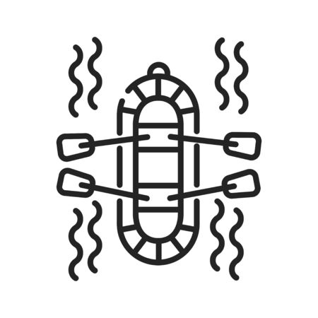 Rafting black line icon on white background. Extreme. Swimming on the rapids in the river. Pictogram for web page, mobile app, promo. UI UX GUI design element. Editable stroke