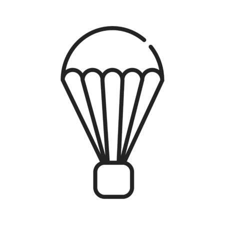 Parachutism black line icon on white background. Extreme. Flying in the sky with a parachute. Pictogram for web page, mobile app, promo. UI UX GUI design element. Editable stroke