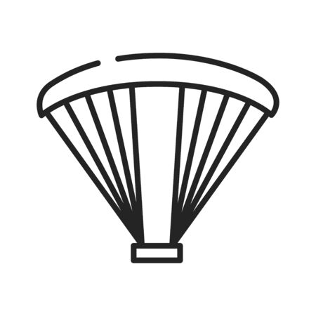 Paragliding in the sky black line icon on white background. Extreme sport. Pictogram for web page, mobile app, promo. UI UX GUI design element. Ilustración de vector