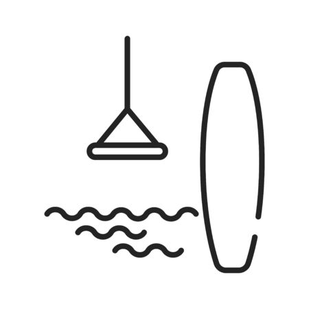 Wakeboarding black line icon. Extreme water sport. The rider, standing on a wakeboard, is towed behind a motorboat across. Pictogram for web page, mobile app, promo. UI UX GUI design element Ilustracja