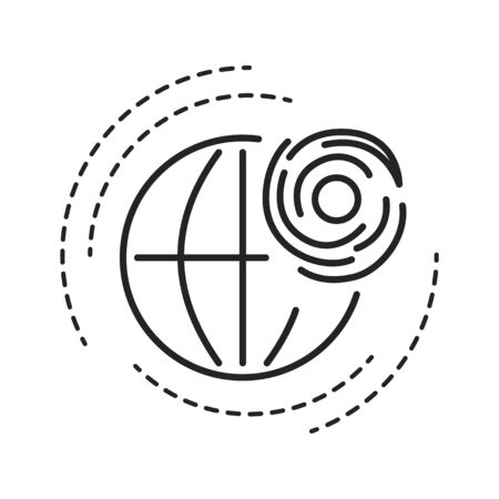 Tropical cyclone black line icon. A rapidly rotating storm system characterized by a low-pressure center, a closed low-level atmospheric circulation and strong winds Illustration