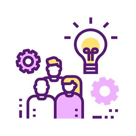 Branding agency color line icon. Influencer marketing team. Pictogram for web page, mobile app, promo. UI UX GUI design element. Editable stroke Illustration