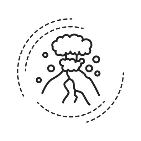 Eruption black line icon on white background. The outpouring of magma. Ejection of ash. Pictogram for web page, mobile app, promo. UI UX GUI design element. Editable stroke