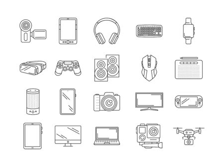 Gadgets black line icons set. Electronic devices. Designed to facilitate and improve human life. Pictogram for web page, mobile app, promo. UI UX GUI design element. Editable stroke