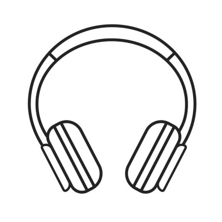 Headphones black line icon. Hardware device. Can be plugged into a computer, laptop, smartphone or other device to privately listen to audio. Pictogram for web page, mobile app. Editable stroke