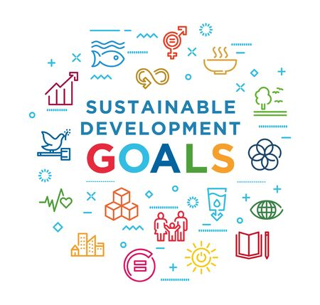 Corporate social responsibility word banner. Sustainable Development Goals. SDG signs. Infographics with linear icons on background Creative idea concept. Isolated outline color illustration
