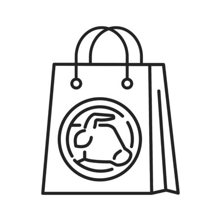 Purchase of artificial meat black line icon. Buying a cultured meat. Paper bag. Can be done in the supermarket. Pictogram for web page, mobile app, promo. UI UX GUI design element. Editable stroke Çizim