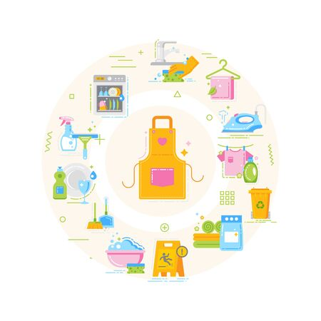 Cleaning service web banner. Housekeeping. Cleaner products. Infographics with linear icons on white background. Creative idea concept. Isolated outline color illustration.