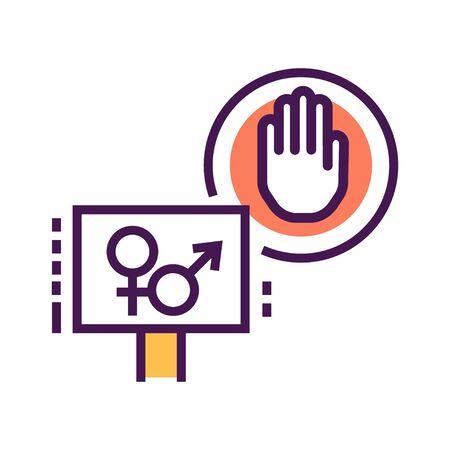 Sex strike line color icon. Feminist movement. Social protest. Pictogram for web page, mobile app, promo. Editable stroke Vektoros illusztráció