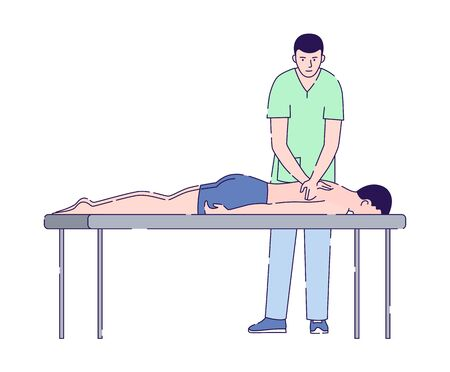 Male doctor massages a male patient flat vector illustration. Physiotherapy, acupuncture, rehabilitation concept. Health medical treatment. Isolated cartoon character on a white background.