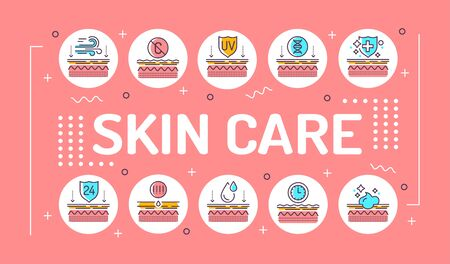 Skin care word lettering typography. Exposure to skin external factors, aging, care, genetics. Infographics with linear icons on pink background. Creative idea concept. Isolated outline color illustration.