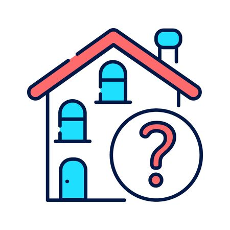 Residential building with a question mark line color icon. Confusion with location. Dementia symptom. Memory loss. Sign for web page, mobile app, button, logo. Editable stroke