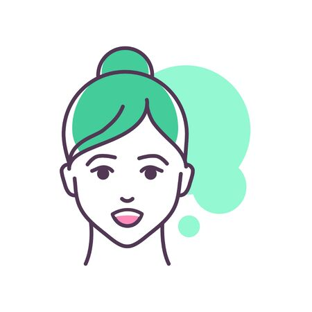 Human feeling admiration line color icon. Face of a young girl depicting emotion sketch element. Cute character on green background. Outline vector illustration.