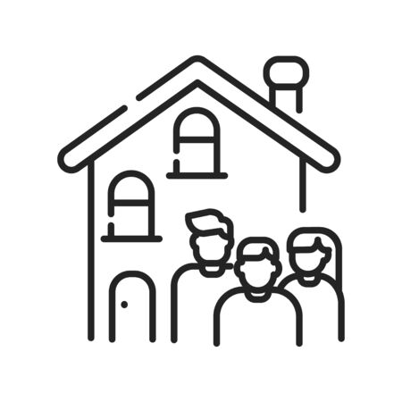 Rent a house for family allowed with children black line icon. Temporary use of property. Pictogram for web page, mobile app, promo. UI UX GUI design element. Editable stroke