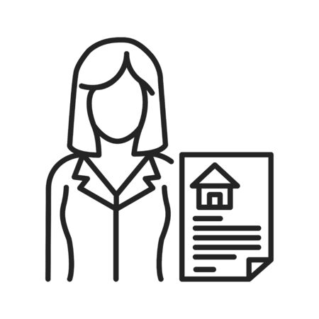 Realtor black line icon. Expert who is engaged in real estate transactions. Pictogram for web page, mobile app, promo. UI UX GUI design element. Editable stroke