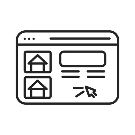 Search house for rental black line icon. Real estate website Pictogram for web page, mobile app, promo. UI UX GUI design element. Editable stroke