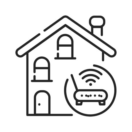 Internet connection black line icon. Ability of individuals to connect to the Internet. Pictogram for web page, mobile app, promo. UI UX GUI design element. Editable stroke