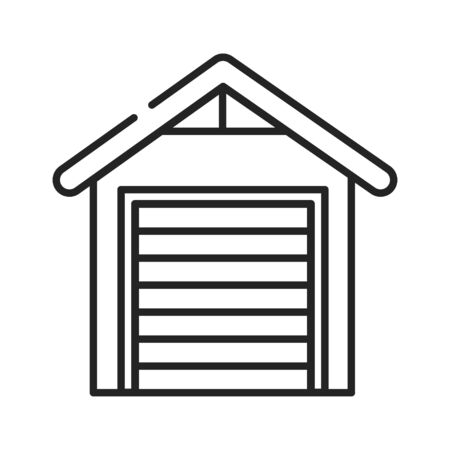 Garage black line icon. Building where a car is kept. Built next to or as part of a house. Pictogram for web page, mobile app, promo. UI UX GUI design element. Editable stroke