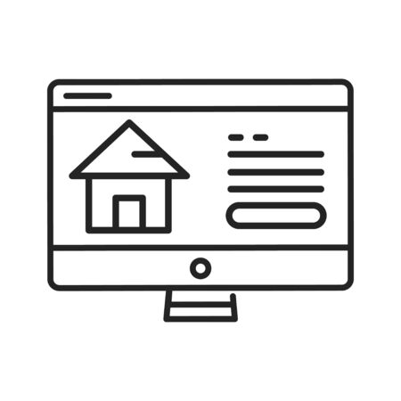 Real estate web site black line icon. Central location of web pages. Real estate information. Pictogram for web page, mobile app, promo. UI UX GUI design element. Editable stroke