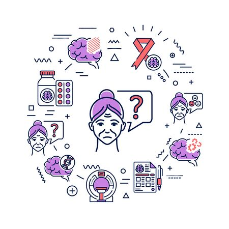 Alzheimer's disease web banner. Decline in memory. Decrease in mental human abilities. Infographics with linear icons on background. Creative idea concept. Isolated outline color illustration.