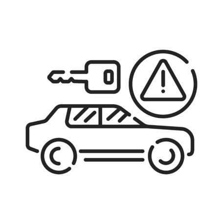 Car rental scam black line icon. Tricking victims into paying a deposit or the full rental fee before receiving the car. Pictogram for web page, mobile app, promo