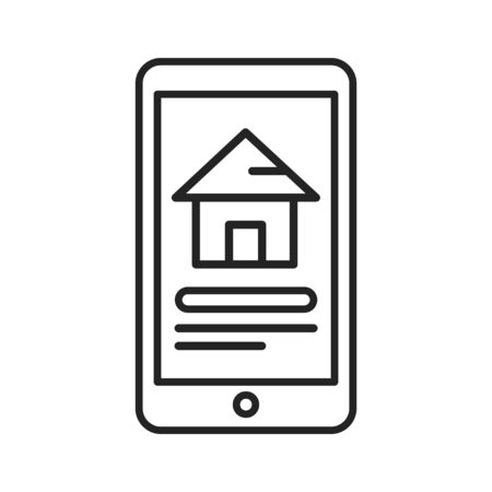 Reservation of house on smartphone black line icon. Pictogram for web page, mobile app, promo. UI UX GUI design element. Editable stroke