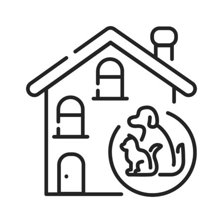 Pets allowed black line icon. Indicates whether pets are allowed to enter the accommodation. Pictogram for web page, mobile app, promo. UI UX GUI design element. Editable stroke Ilustração